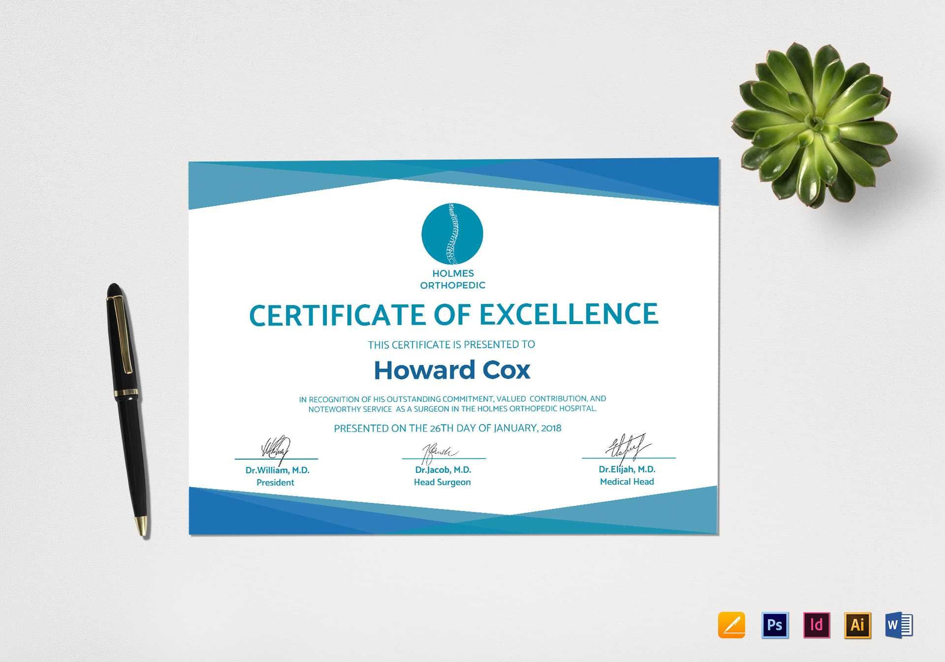 Medical Excellence Certificate Template With Indesign Certificate Template