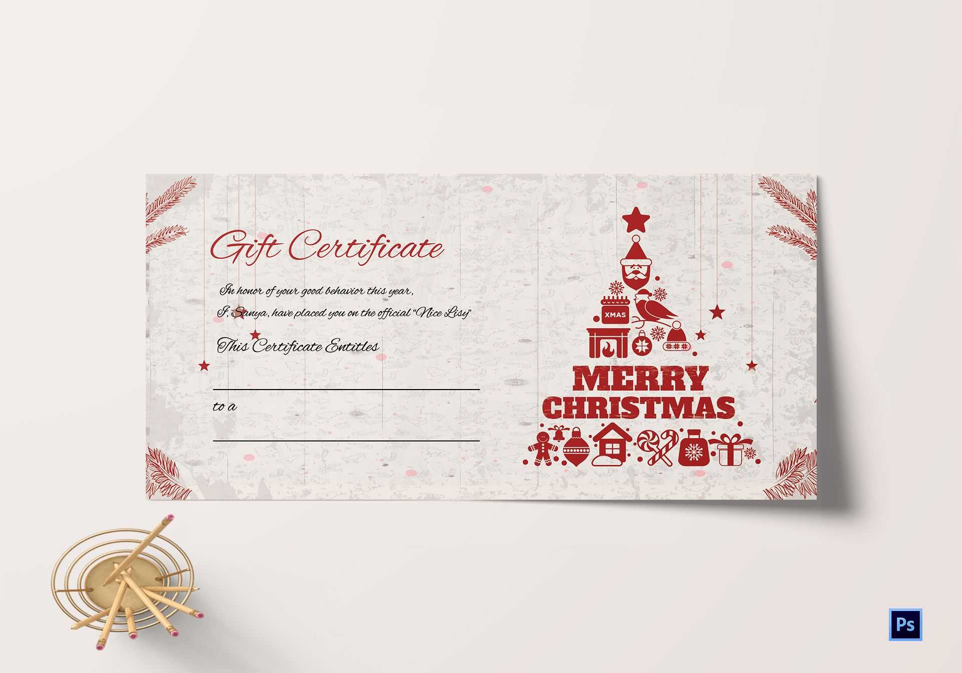Merry Christmas Gift Certificate Throughout Merry Christmas Gift Certificate Templates