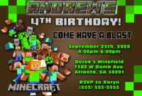 Minecraft Birthday Invitations : Minecraft Birthday inside Minecraft Birthday Card Template