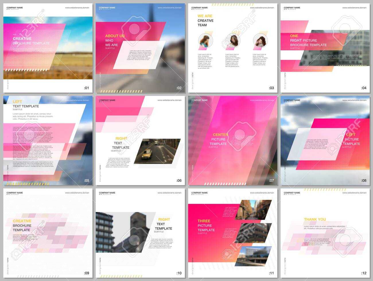 Minimal Brochure Template With Unique Fresh Colorful Geometric.. Within Social Media Brochure Template