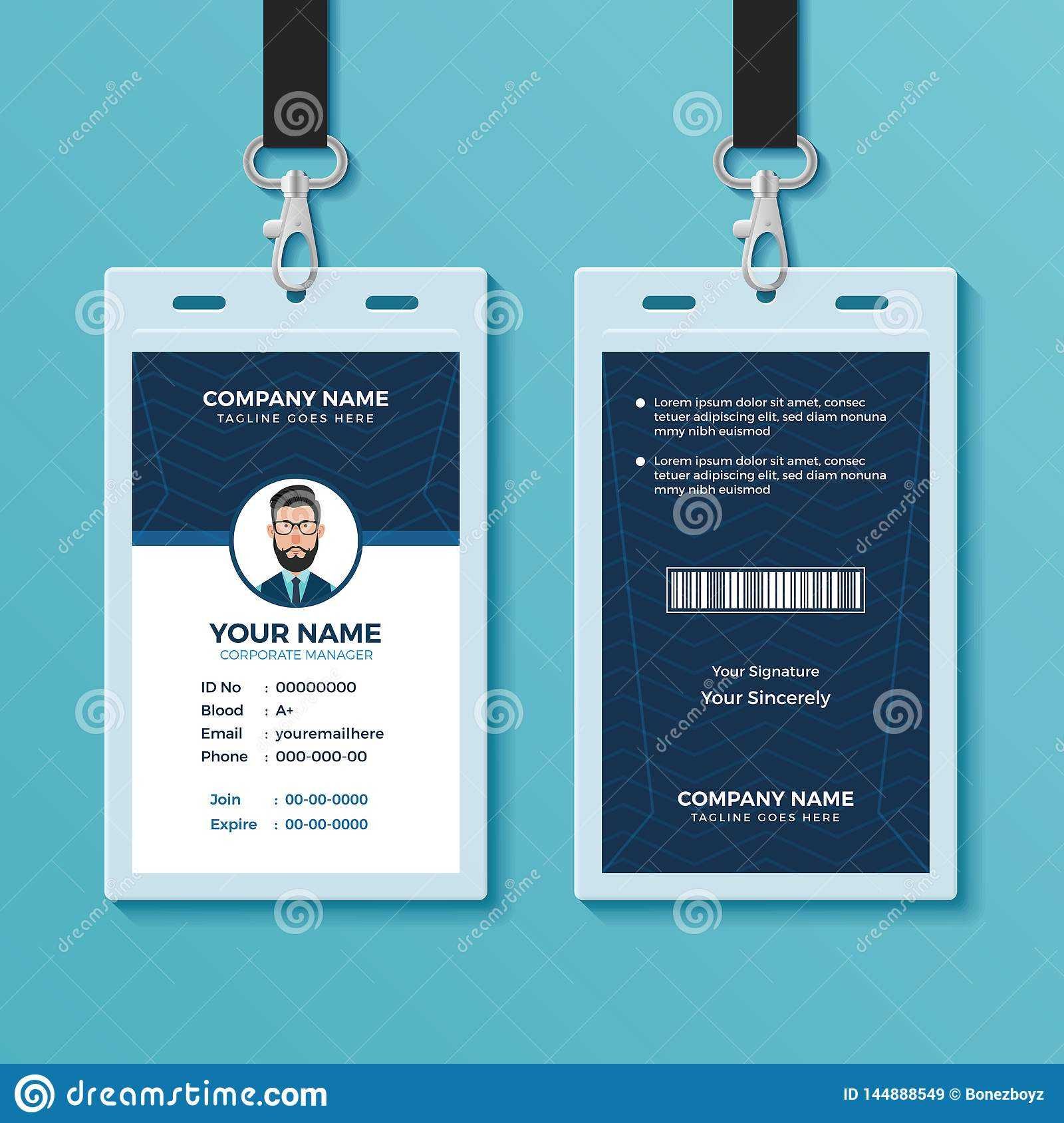 Modern And Clean Id Card Design Template Stock Vector Intended For Conference Id Card Template