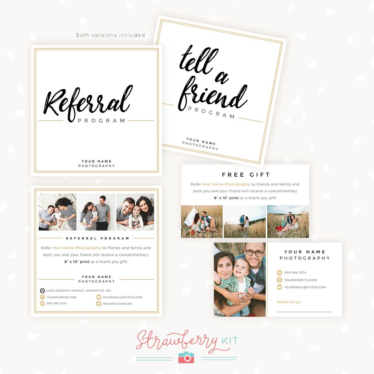 Modern Hand Lettering Referral Card Set - Strawberry Kit In Referral Card Template Free