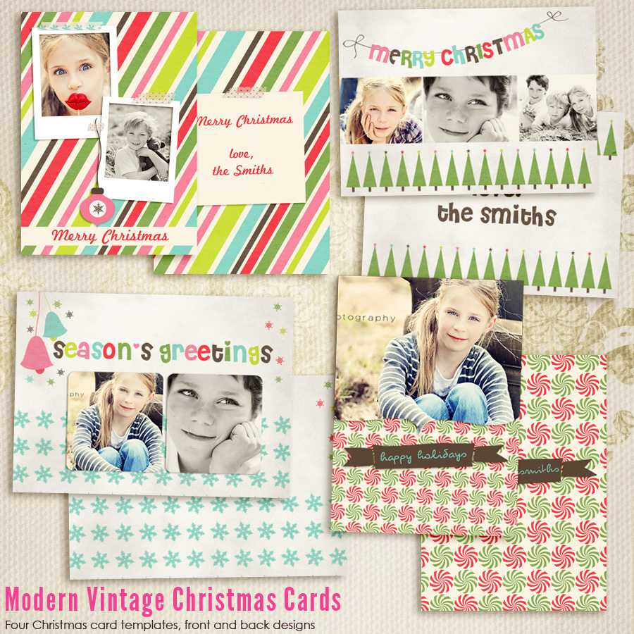 Modern Vintage Christmas Card Templates For Photographers For Holiday Card Templates For Photographers