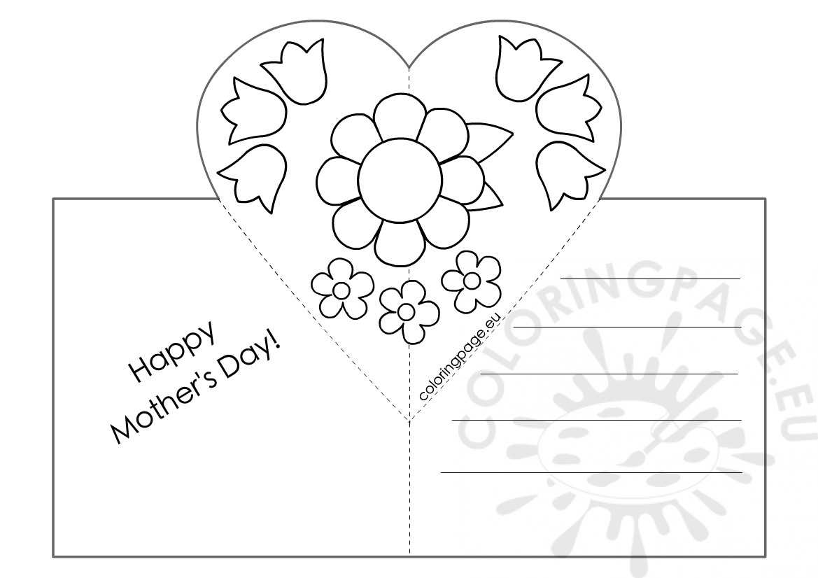 Mothers Day Card With Heart Pop Up Template – Coloring Page Intended For Mothers Day Card Templates