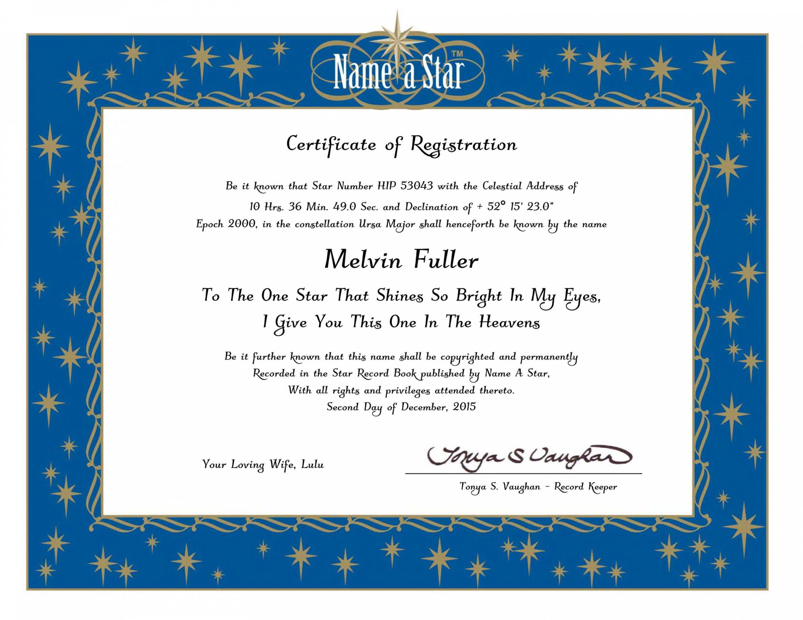 Name A Star Certificate Template In Star Naming Certificate Template