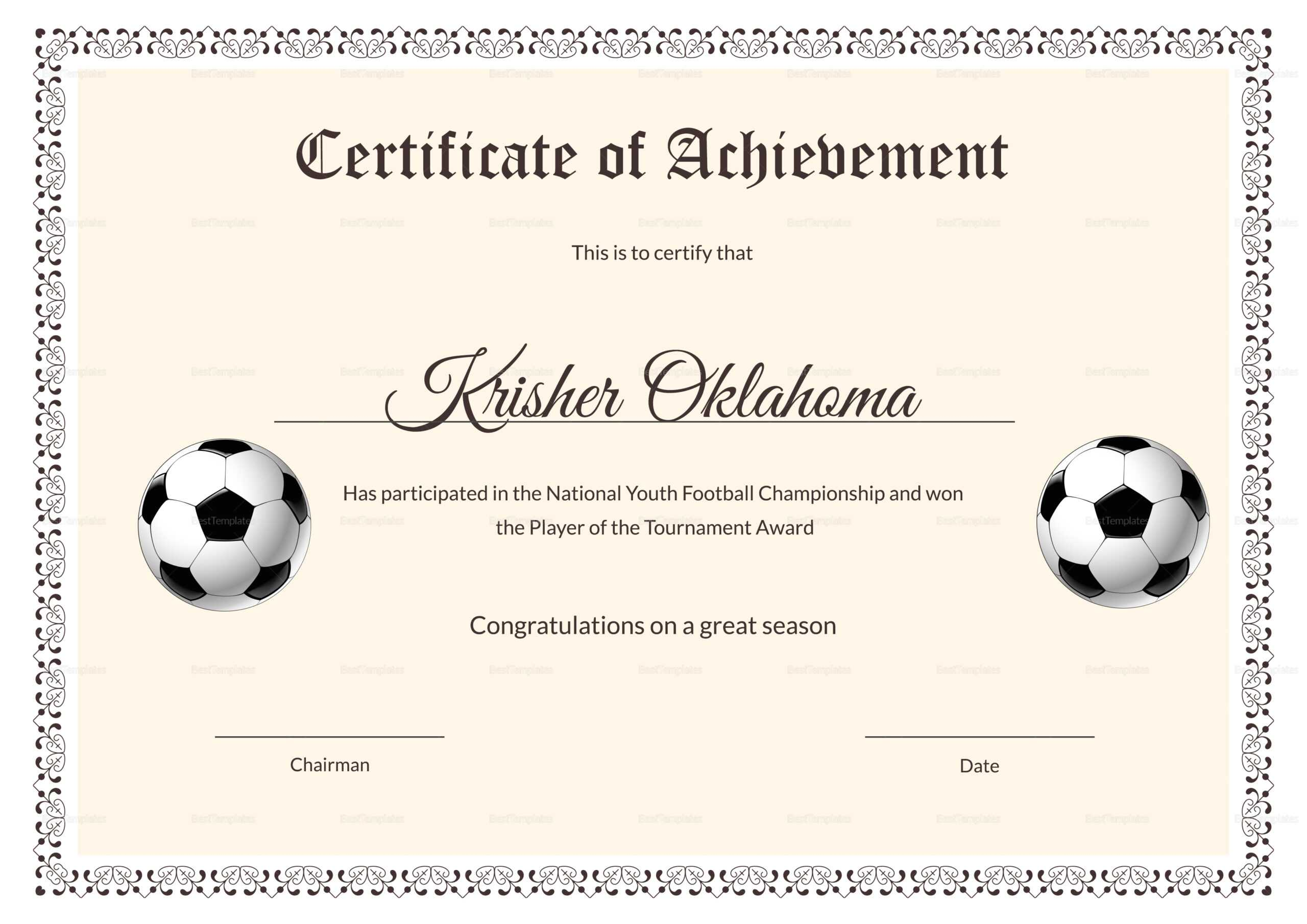 National Youth Football Certificate Template In Football Certificate Template