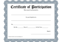 New Certificate Of Participation Templates | Certificate with Certificate Of Participation Template Doc