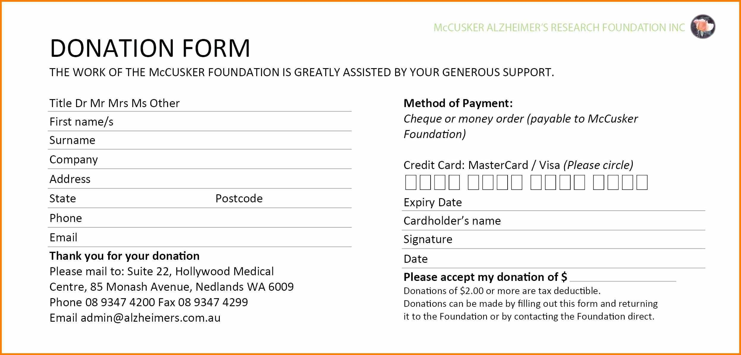 Non Profit Donation Form Template - Mahre.horizonconsulting.co Throughout Free Pledge Card Template