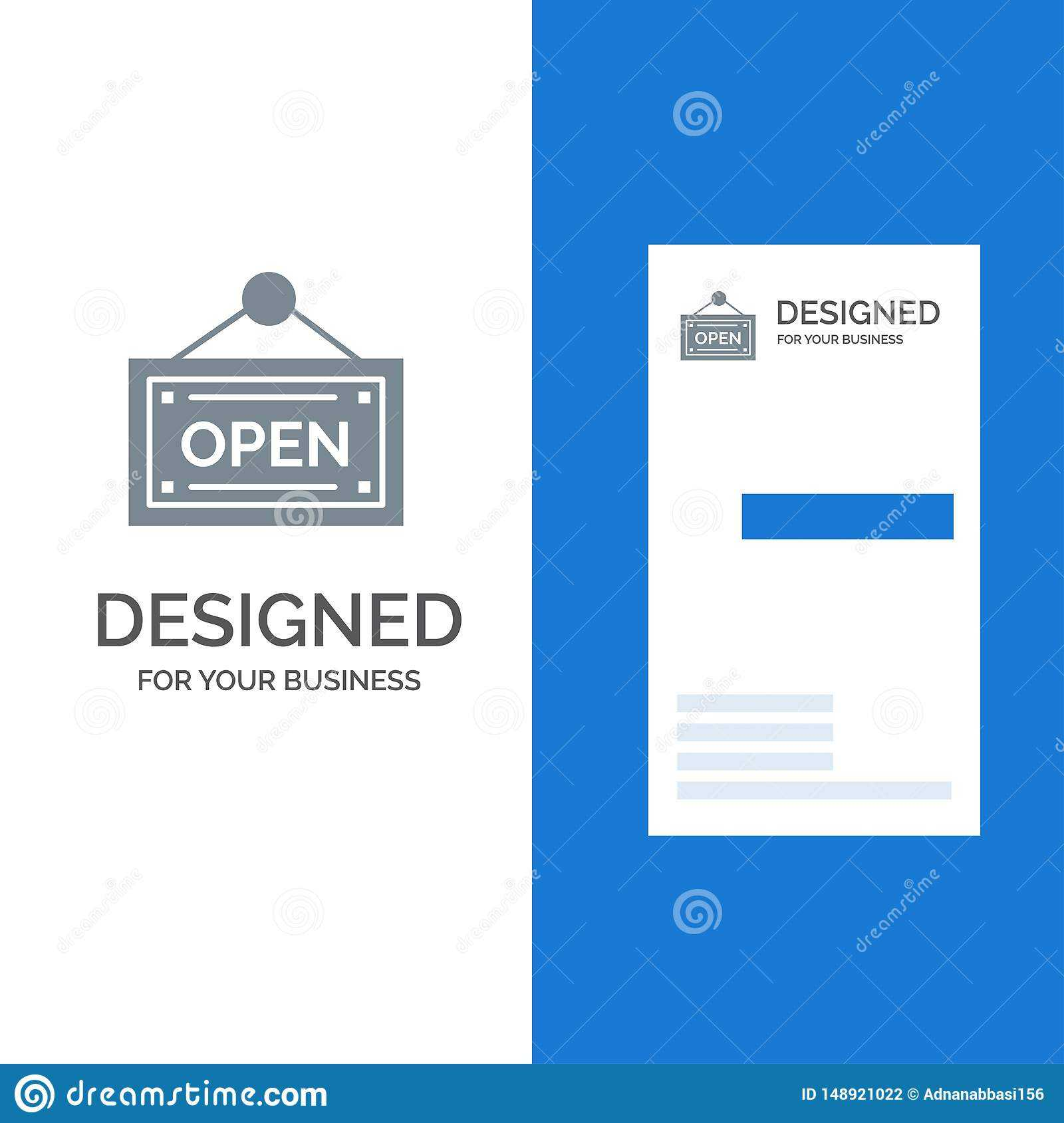 Open, Shop, Board Grey Logo Design And Business Card For Business Card Template Open Office
