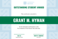 Outstanding Student Certificate Template for Student Of The Year Award Certificate Templates
