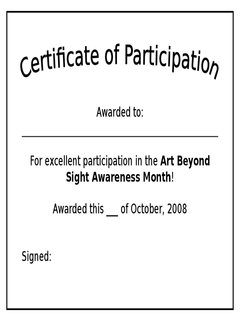 Participation Certificate – 6 Free Templates In Pdf, Word With Regard To Certificate Of Participation Template Pdf