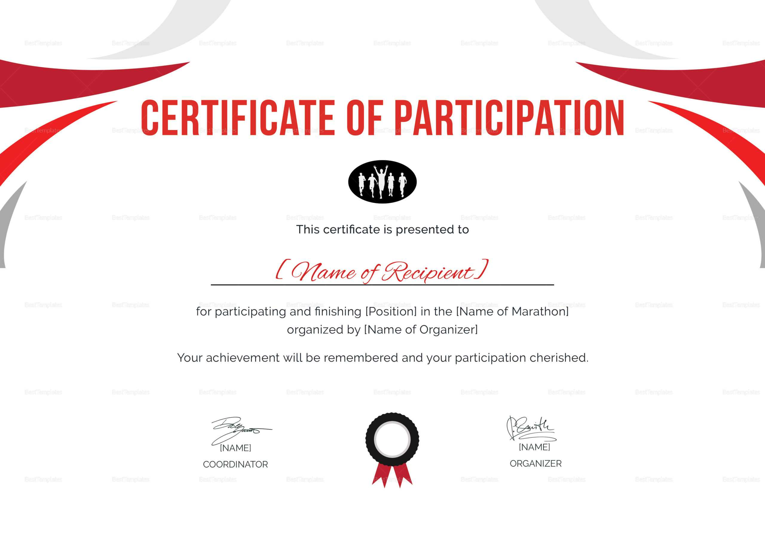 Participation Certificate For Running Template In Running Certificates Templates Free
