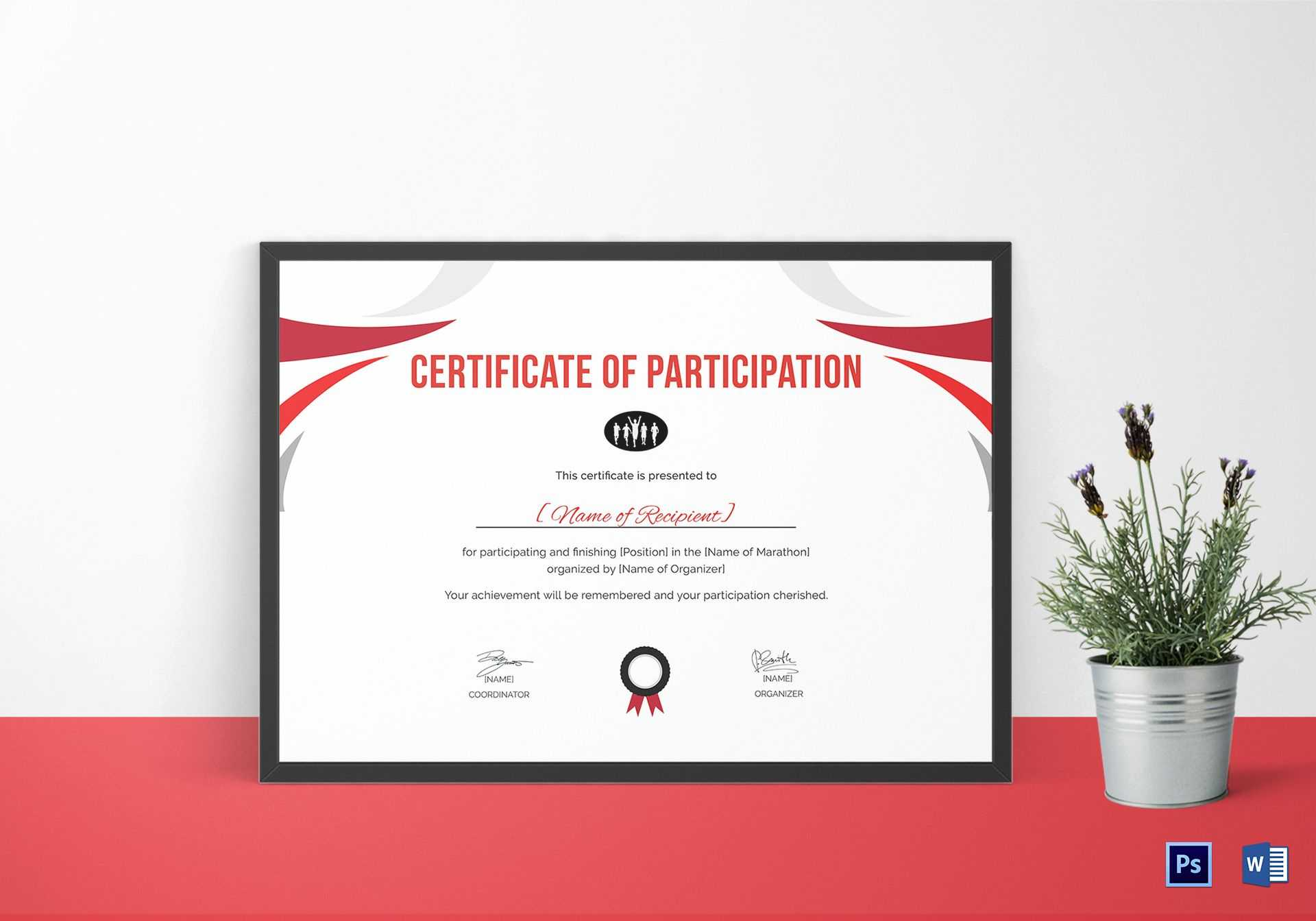 Participation Certificate For Running Template Inside Running Certificates Templates Free