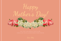Peach Happy Mother's Day Card Template regarding Mothers Day Card Templates