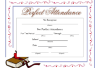 Perfect Attendance Certificate - Download A Free Template in Perfect Attendance Certificate Free Template