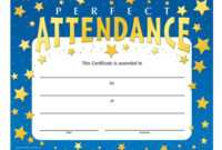 Perfect Attendance Stars Design Gold Foil-Stamped Certificate throughout Perfect Attendance Certificate Free Template