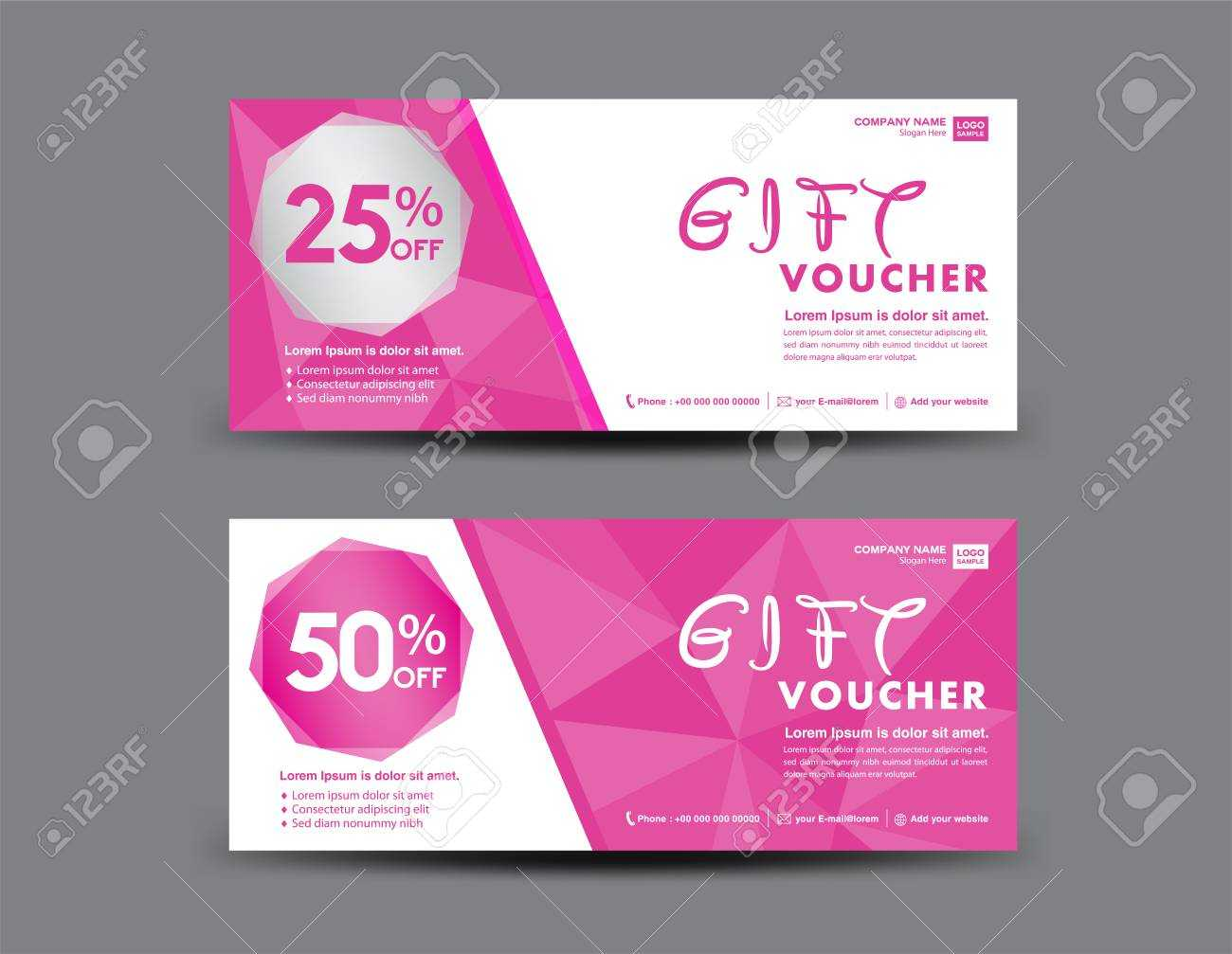 Pink Gift Voucher Template, Coupon Design, Certificate, Ticket.. For Pink Gift Certificate Template