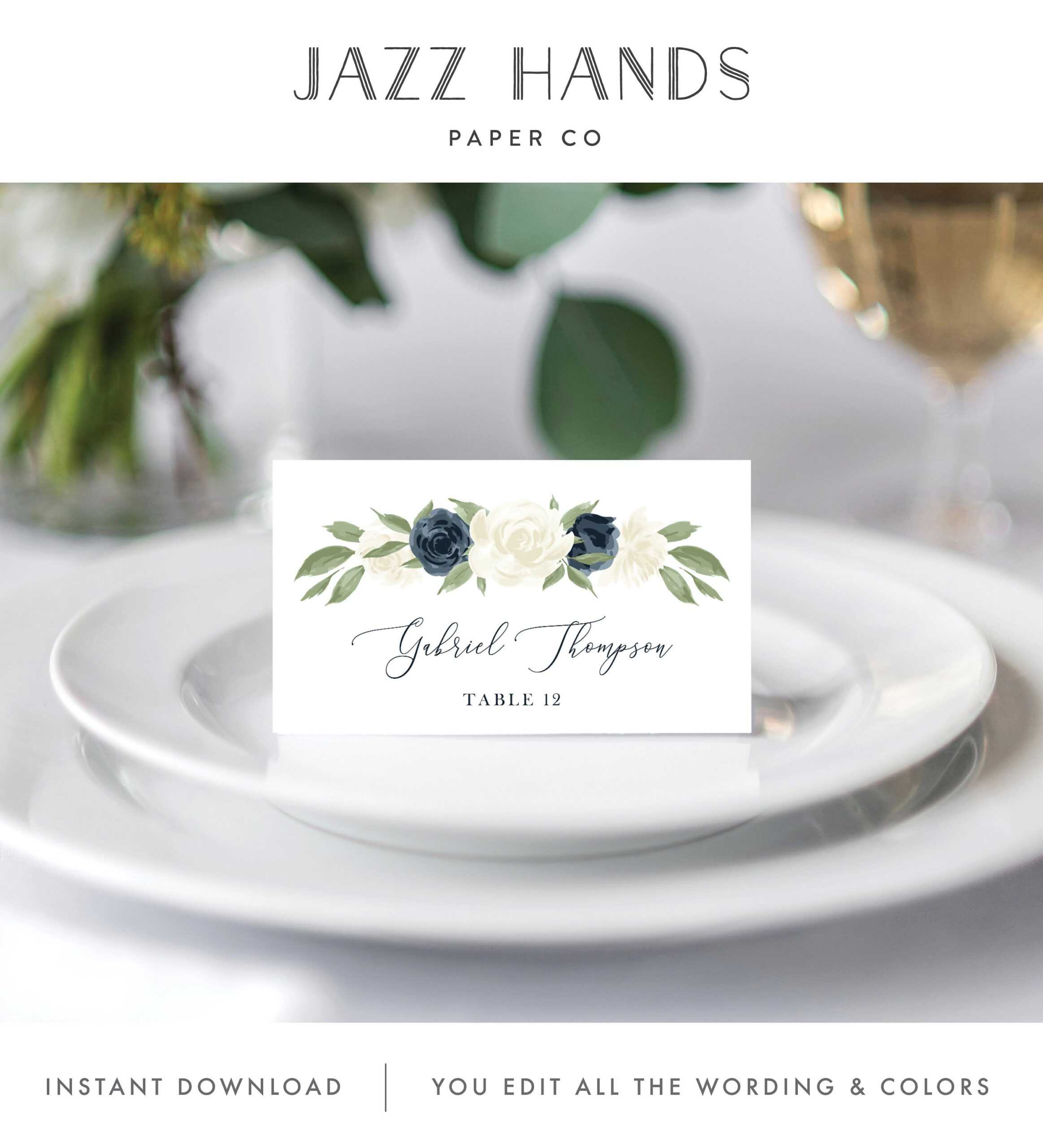 Place Card Template, Escort Card Template, Printable Wedding Within Place Card Setting Template