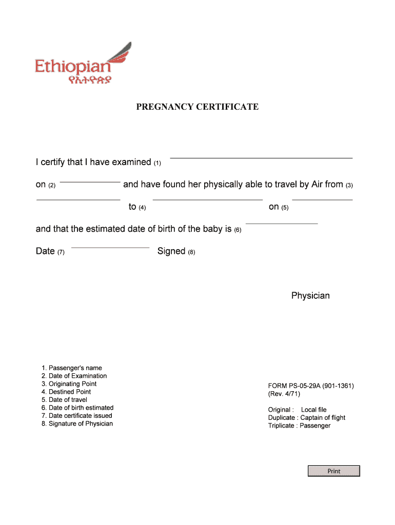 Pregnancy Fit To Fly Letter Sample - Fill Online, Printable With Regard To Fit To Fly Certificate Template