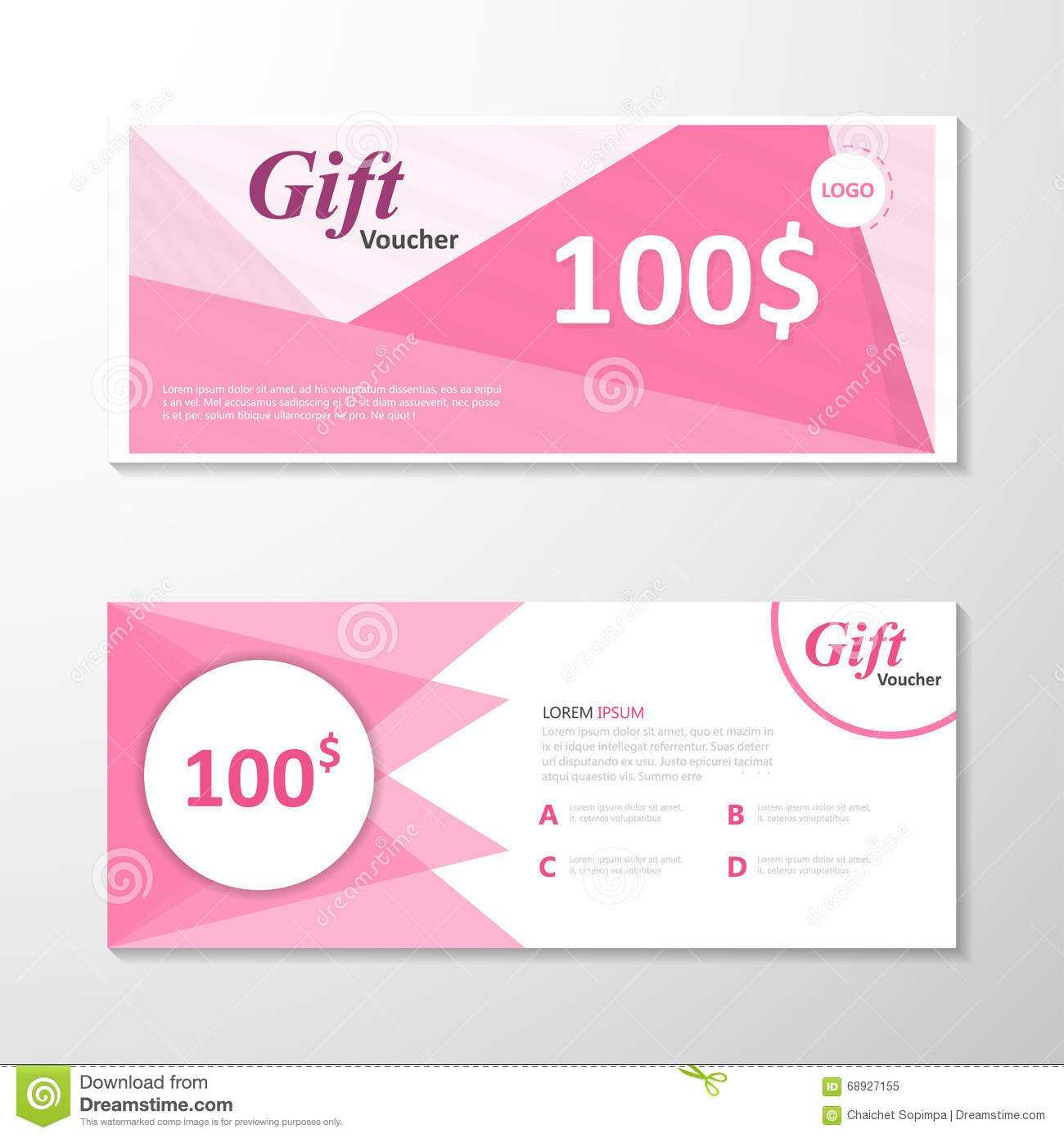 Premium Elegance Pink Gift Voucher Template Layout Design With Pink Gift Certificate Template
