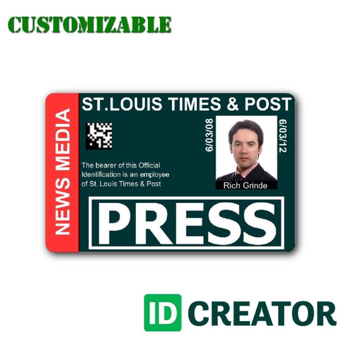 Press Id Card Template Psd Throughout Media Id Card Templates