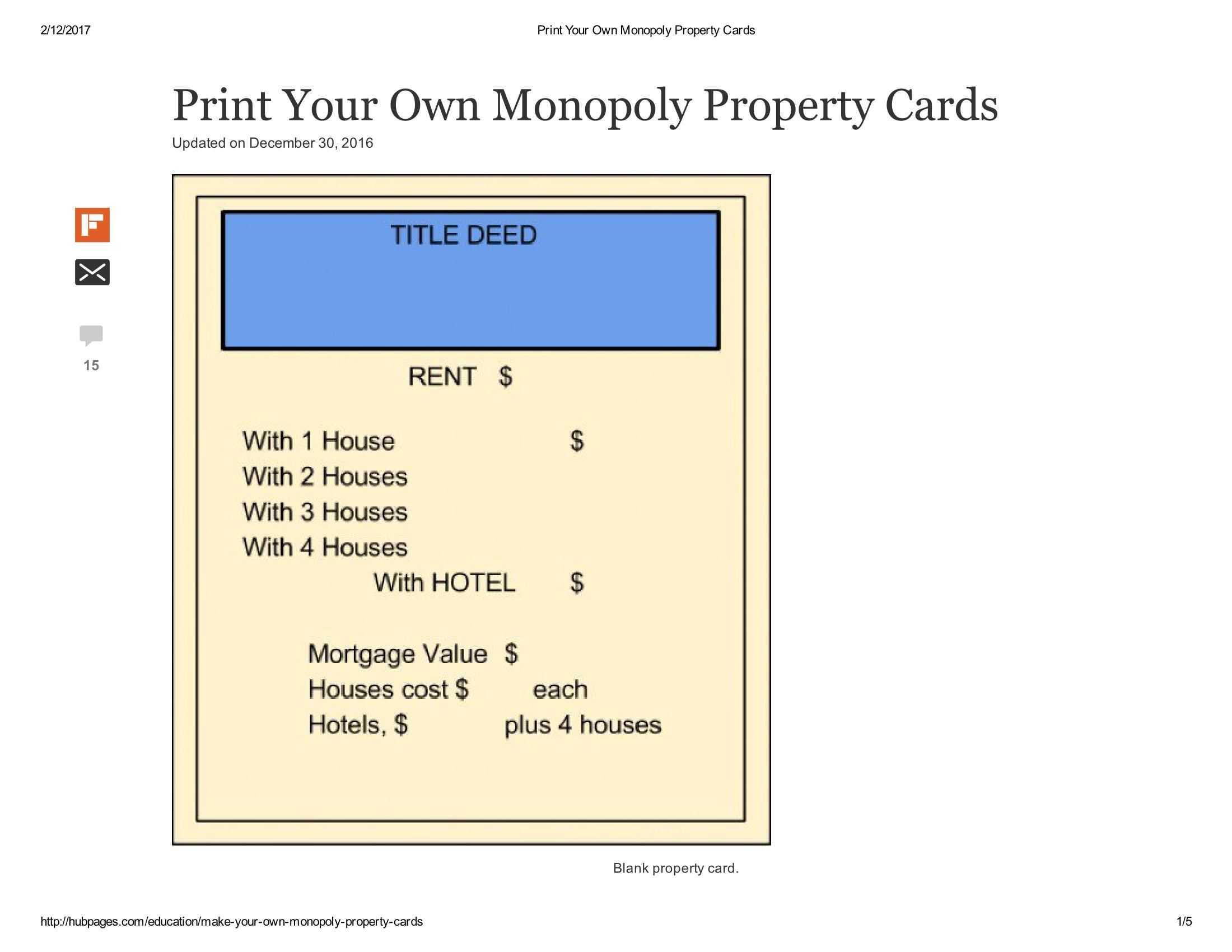 Print Your Own Monopoly Property Cards Document Pages 1 - 5 Throughout Monopoly Property Card Template
