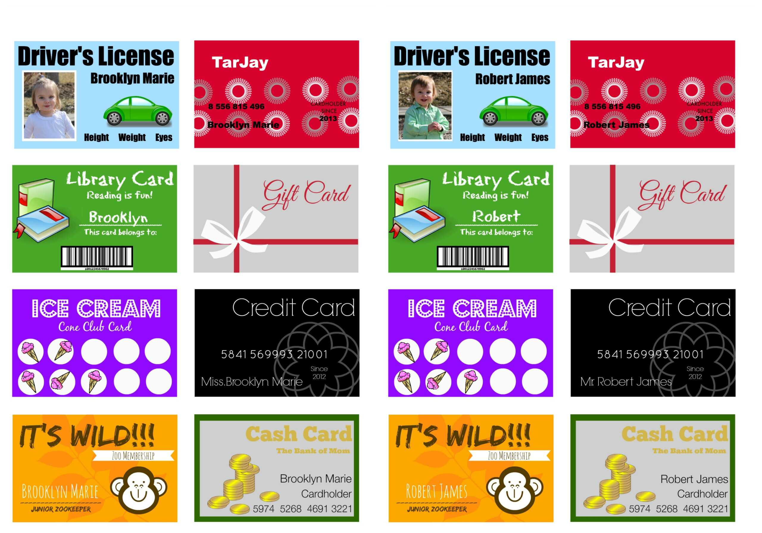 Printable (And Customizable) Play Credit Cards - The Crazy Intended For Credit Card Template For Kids