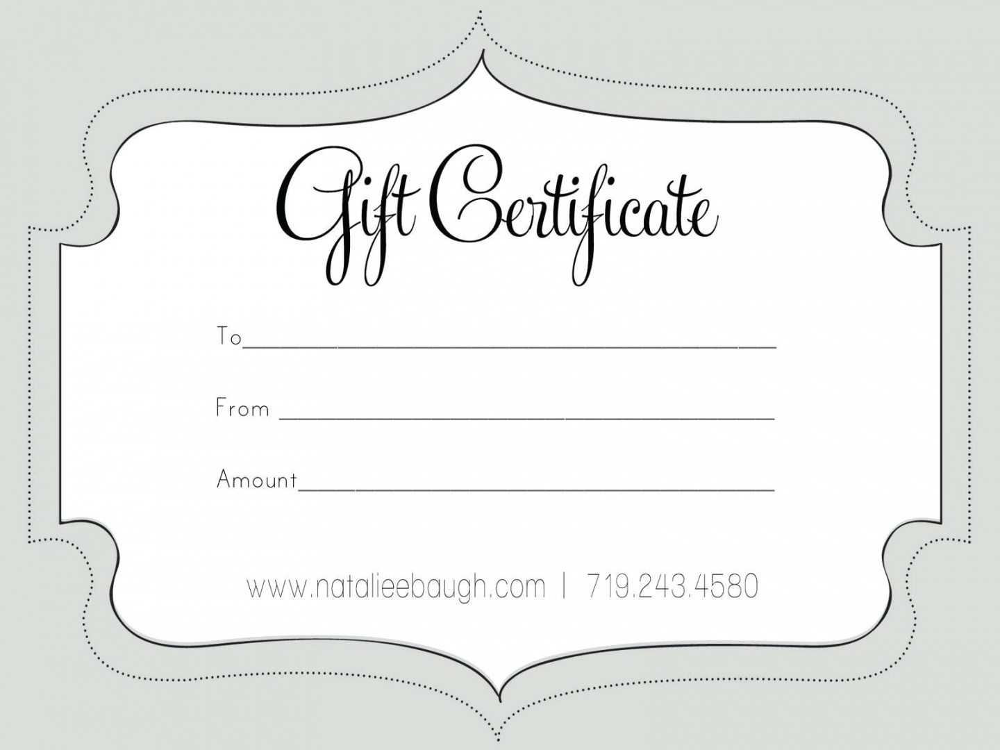 Printable Fillable Gift Certificate Template Custom In Custom Gift Certificate Template