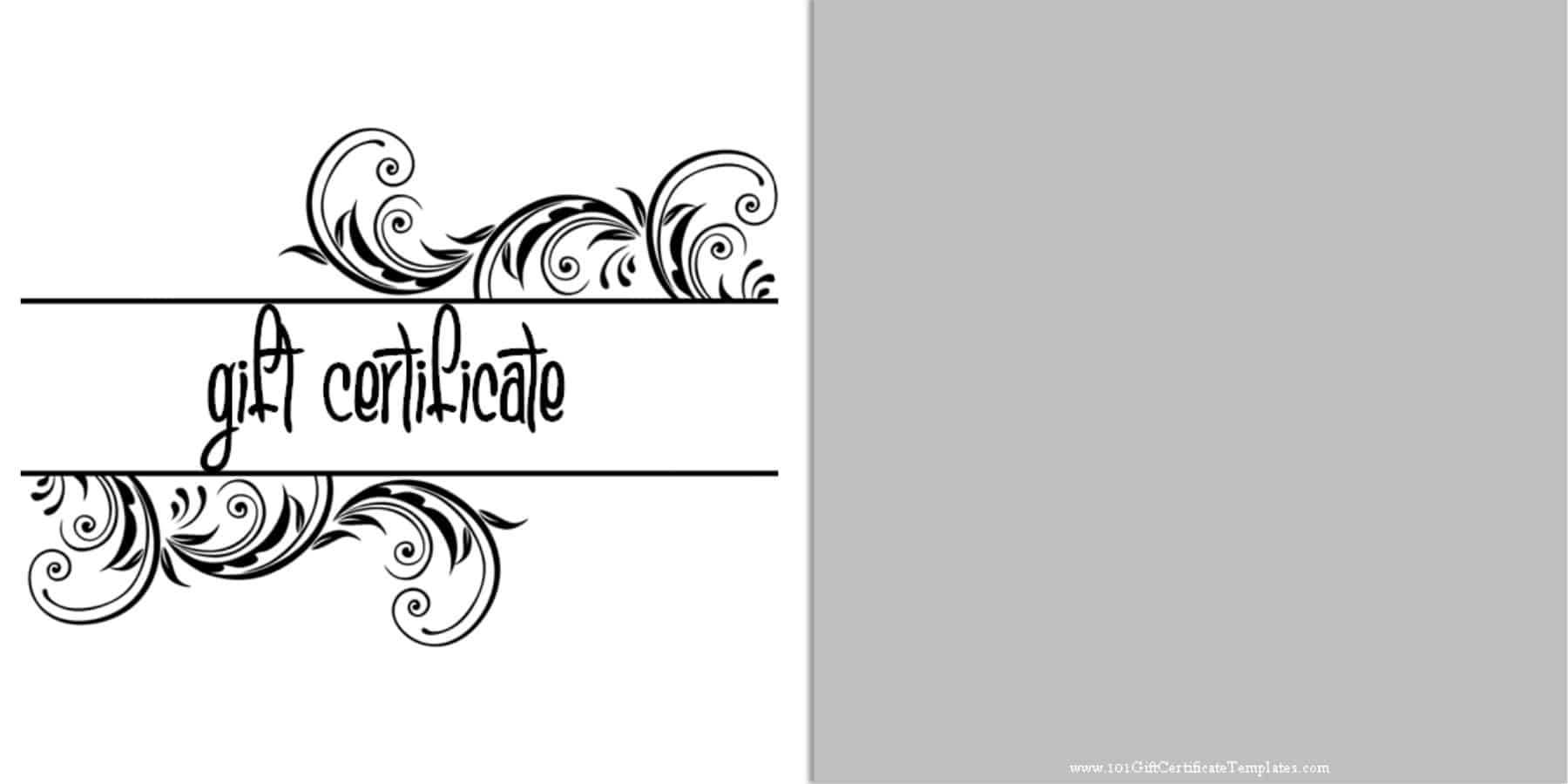 Printable Gift Certificate Templates Within Black And White Gift Certificate Template Free