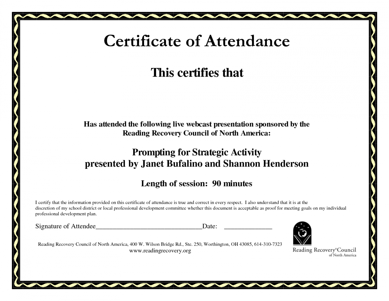 Printable Perfect Attendance Certificate Template Word With Regard To Attendance Certificate Template Word