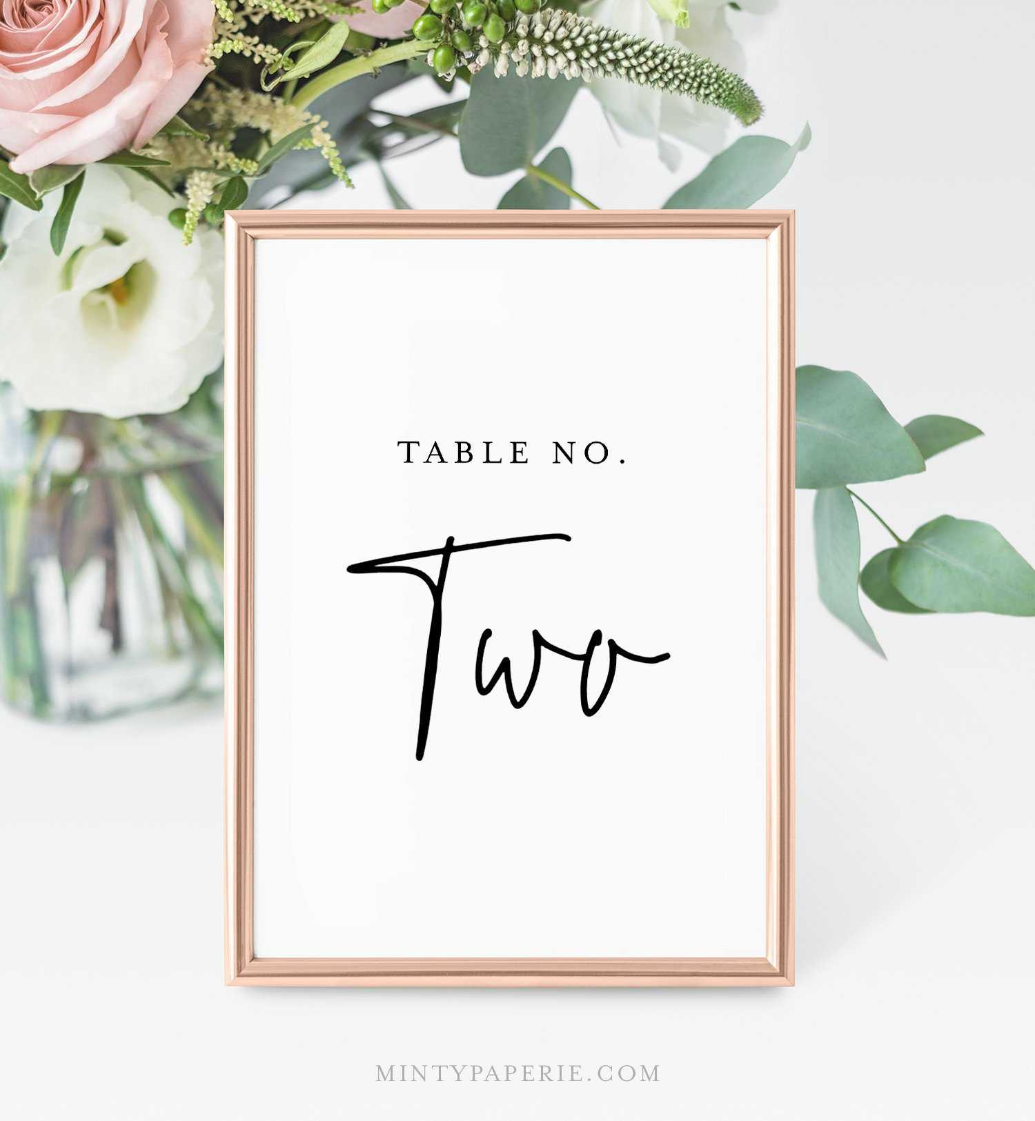 Printable Table Number Cards, Minimalist Wedding Table Throughout Table Number Cards Template