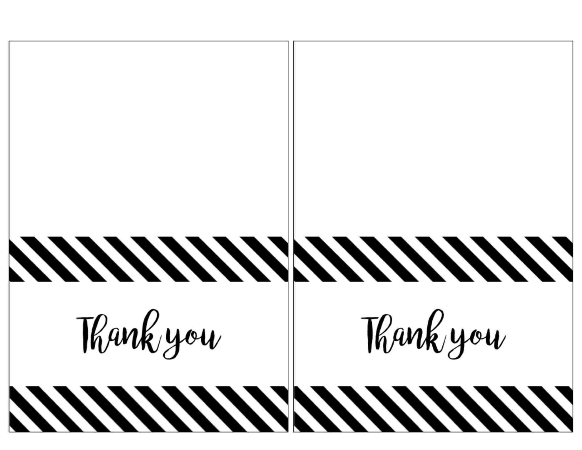 Printable Thank You Card Black And White - Zohre In Free Printable Thank You Card Template