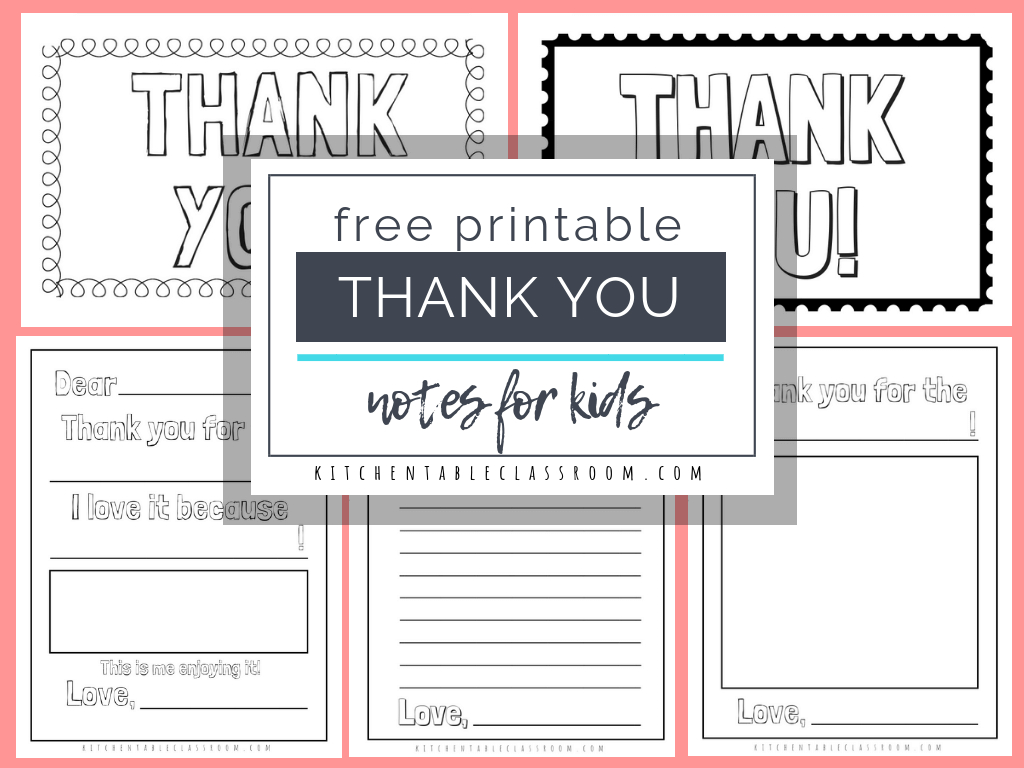 Printable Thank You Cards For Kids - The Kitchen Table Classroom Inside Free Printable Thank You Card Template