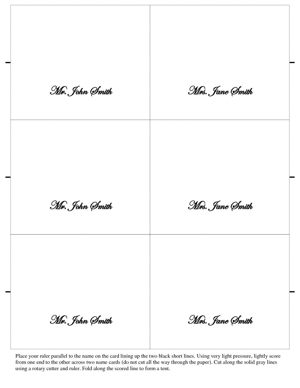 Printable Wedding Place Cards Template ] - Printable Place Throughout Free Place Card Templates 6 Per Page