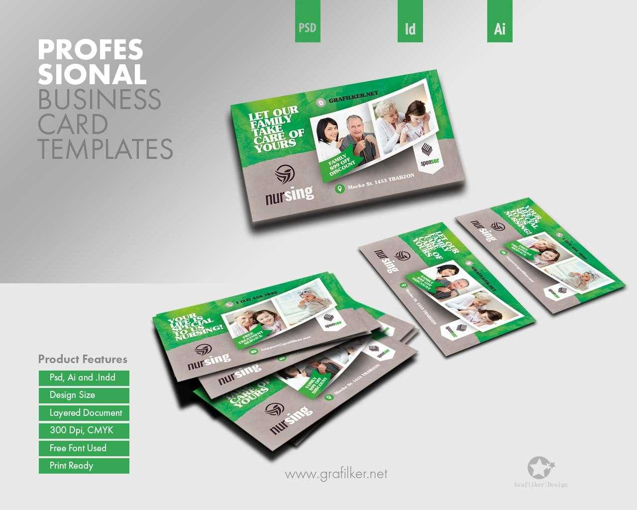 Professional Business Card Templatesgrafilker On Envato Within Advertising Cards Templates