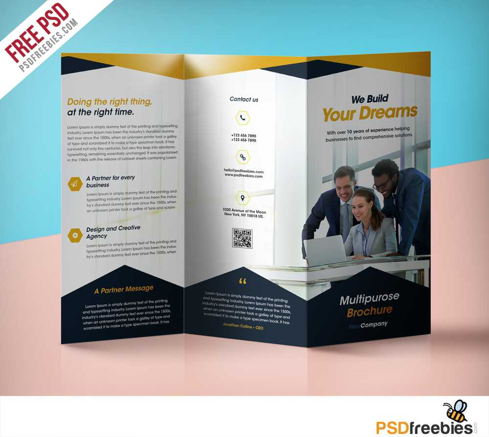 Professional Corporate Tri Fold Brochure Free Psd Template With Regard To Professional Brochure Design Templates