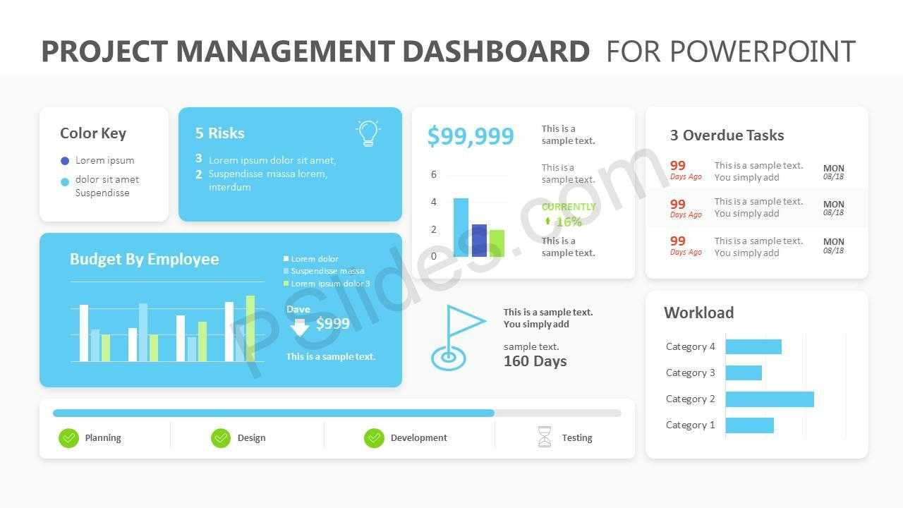 Project Management Dashboard Powerpoint Template - Pslides With Regard To Project Dashboard Template Powerpoint Free