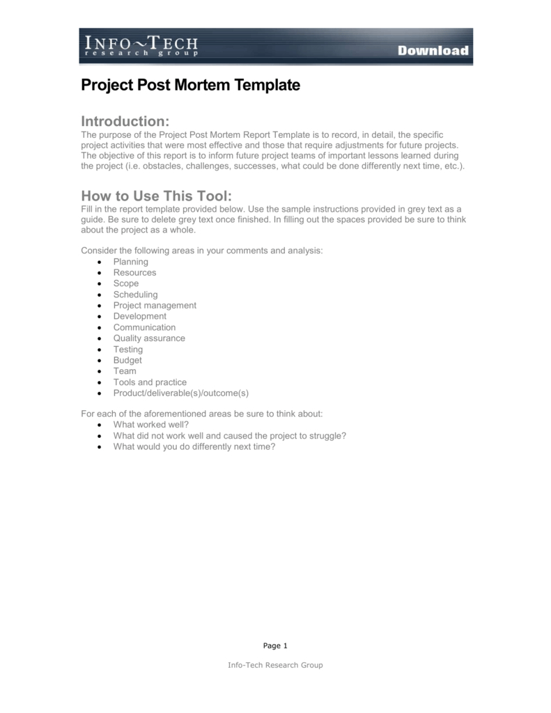 Project Post Mortem Template Within Post Mortem Template Powerpoint