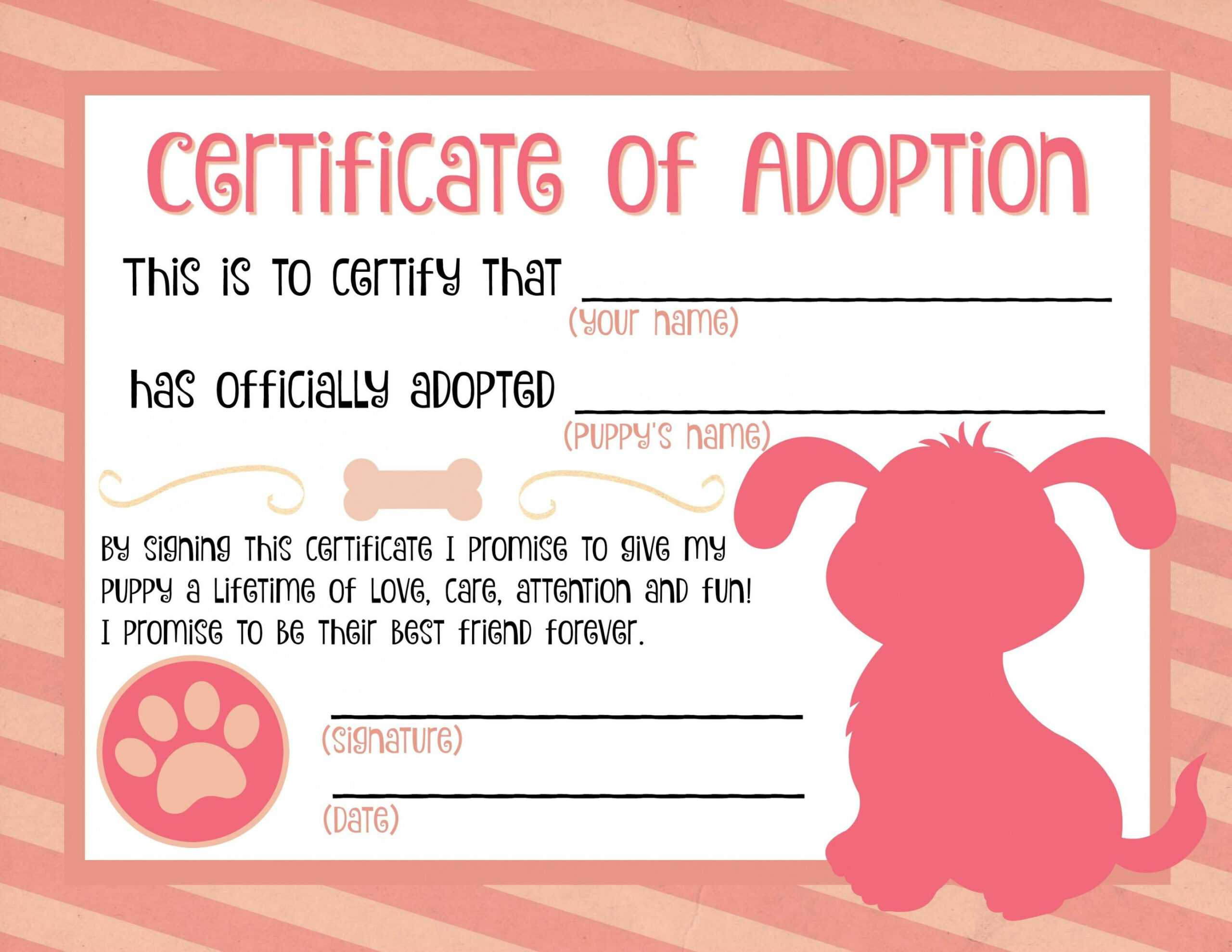 Puppy Adoption Certificate … Party Ideas In 2019… Pet With Pet Adoption Certificate Template