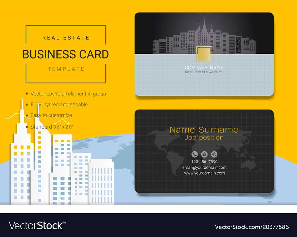 Real Estate Business Card Or Name Card Template In Real Estate Agent Business Card Template