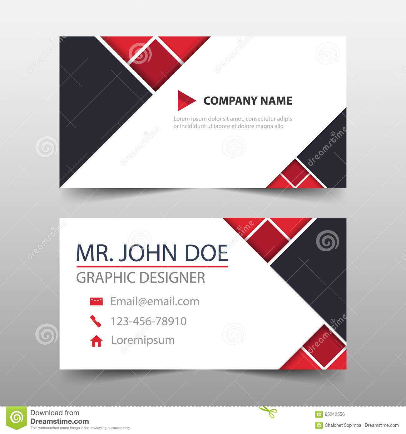 Red Triangle Corporate Business Card, Name Card Template Inside Buisness Card Template