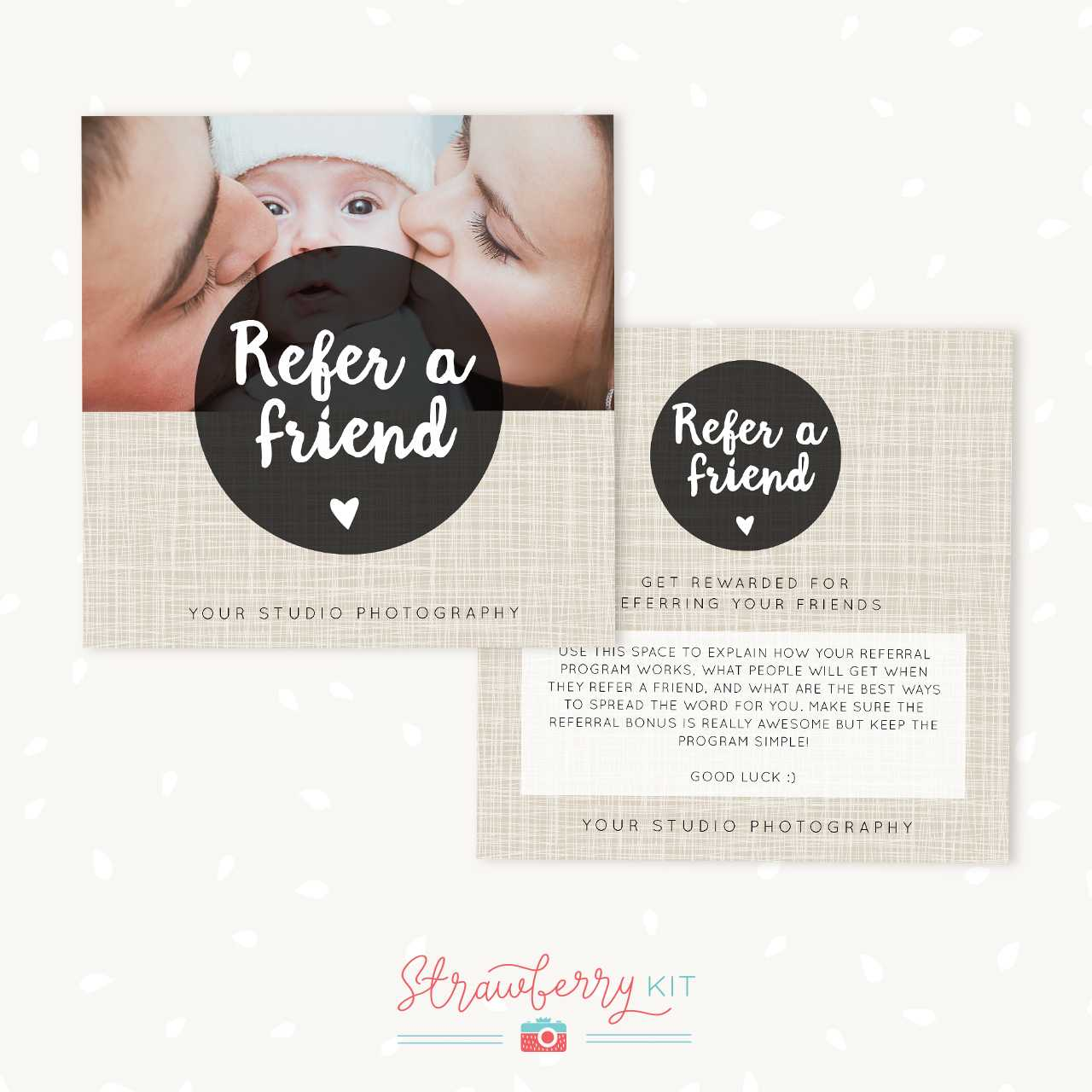 Referral Cards Photoshop Template - Strawberry Kit Throughout Photography Referral Card Templates
