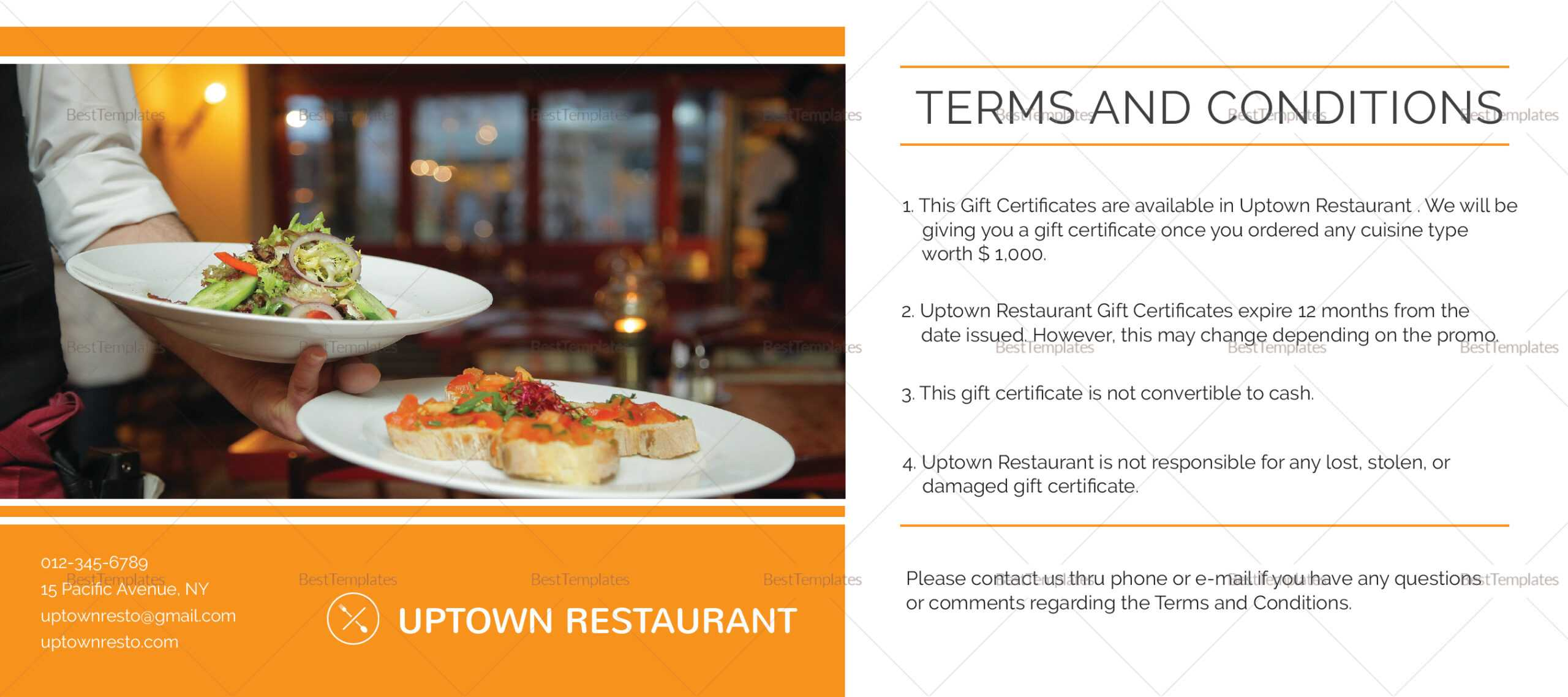 Restaurant Gift Certificate Template For Restaurant Gift Certificate Template