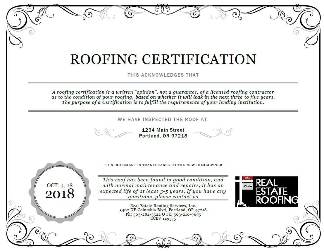 Roof Certification: Sample | Real Estate Roofing For Roof Certification Template