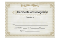 Sample Certificate Of Recognition – Free Download Template with regard to Free Template For Certificate Of Recognition