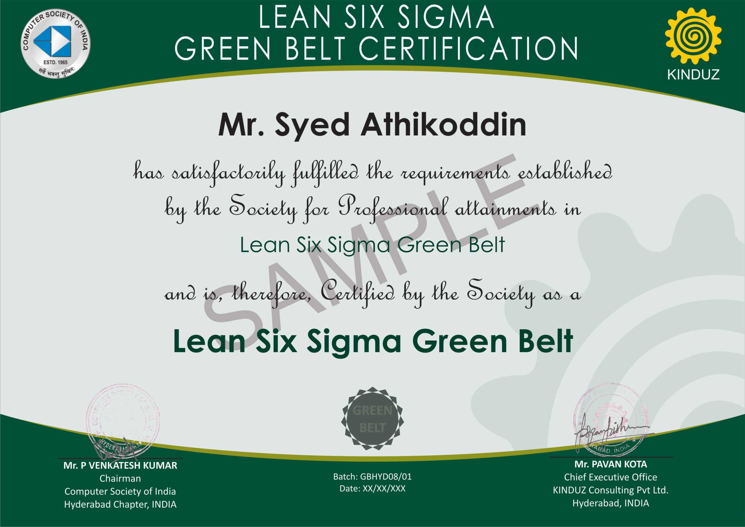 Sample Certificates - Lean Six Sigma India Intended For Green Belt Certificate Template