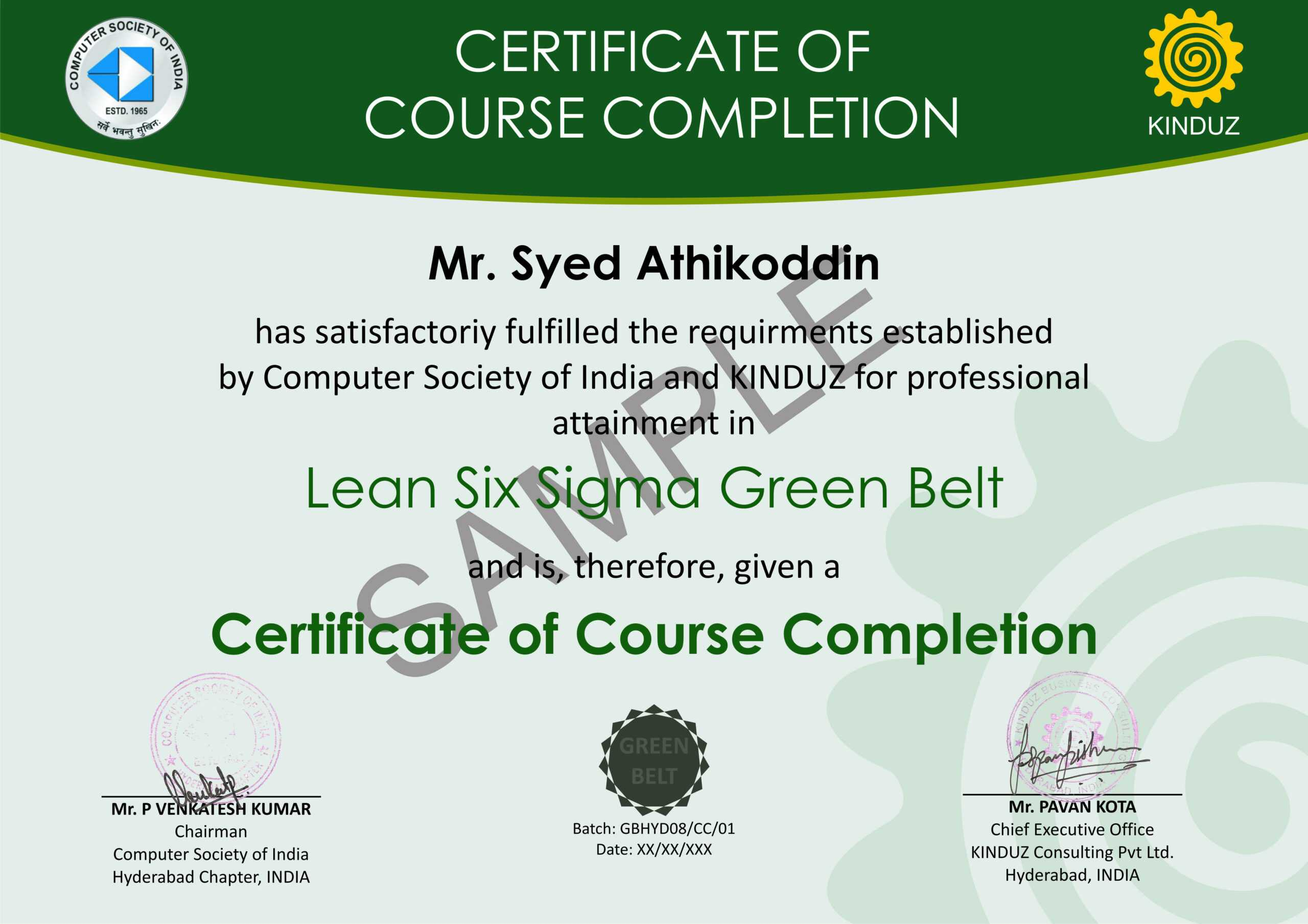 Sample Certificates - Lean Six Sigma India Within Green Belt Certificate Template