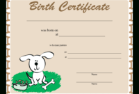 Sample Dog Birth Certificate | Templates At for Birth Certificate Templates For Word