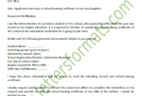 Sample Formal Letter To Principal For School Leaving Certificate in School Leaving Certificate Template