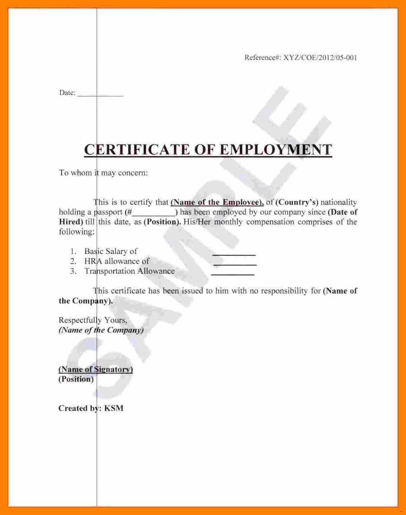 Sample Of Employment Certificate - Raptor.redmini.co Pertaining To Certificate Of Service Template Free